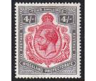 SG95d. 1913 4/- Carmine and black. 'Nick in top right scroll'. S