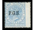 SG O6. 1889 12c Blue. Choice superb fresh mint..