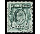 SG49. 1904 3/- Green. Superb well centred used...