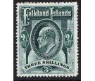 SG49b. 1907 3/- Deep green. Choice superb fresh mint...