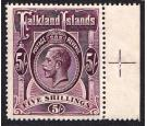 SG67b. 1916 5/- Maroon. Brilliant U/M mint marginal...
