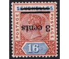 SG38a. 1901 3c on 16c Chestnut and ultramarine. 'Surcharge Inver
