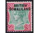 SG10a. 1903 1r Green and aniline carmine. 'BR1TISH' for 'BRITISH