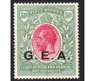 "SG62 Variety. 1917 50r Carmine and green. Round stop after ""E""."