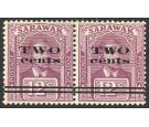SG75a. 1923 2c on 12 c Purple. Thick narrow 'W' in 'TWO'. In pai
