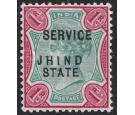 "JIND. SG O21b. 1896 1r Green and carmine. ""JHIND STATE"" teble, t"