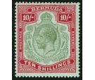 SG54. 1918 10/- Green and carmine/pale bluish green. Superb fres
