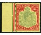 SG118d. 1943 5/- Pale bluish-green and carmine-red/pale yellow.