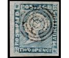 SG20. 1855 2d Blue. Superb fine used with very large...