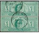 SG266. 1902 £1 Dull blue-green. Vertical Pair...