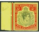 SG118b. 1943 5/- Perf 14 1/2 Line. Dull yellow-green and red/yel