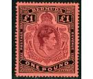 SG121cb. 1943 £1 Purple and black/red. 'Shading Omitted From...