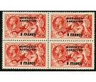 SG201. 1932 6f on 5/- Rose-red. Superb fresh block...