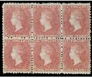 SG5. 1863 1d Rose-red. A superb block of six...