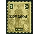 SG149a. 1926 3d Black/yellow 'Overprint Inverted'. Superb fresh