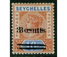 SG38b. 1901. 3c on 16c Chestnut and ultramarine. 'Surcharge Doub
