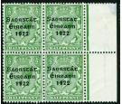 "SG52a. 1922 1/2d Green. No accent in ""Saorstat"". Very fine fresh"