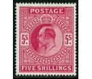 SG263. 1902 5/- Bright carmine. Very fine mint...