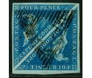 SG2. 1853 4d Deep blue/deeply blued paper. A delightful used pai