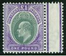SG32. 1906 £1 Green and violet. A brilliant fresh mint marginal