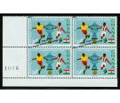SG414ab. 1966 24p Players, ball and cup. 'VERTICAL PAIR, ONE WIT