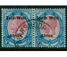 SG13. 1923 5/- Purple and blue. Fantastic used...
