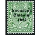 SG52b. 1922 1/2d Green. 'Accent Inserted By Hand'. Superb fresh