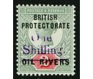 SG37. 1893 1/- on 2d Violet. Brilliant fresh mint...
