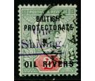 SG37. 1893 1/- on 2d Green. A superb fine used example...