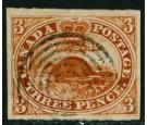 SG8. 1852 3d Brown-red. Superb fine used...