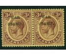 SG72eb. 1916 3d Purple/lemon. 'S' Inserted by hand. Very fine...