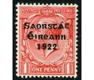"SG53c. 1922 1d Scarlet. Accent and ""E"" inserted by hand..."