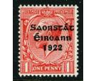 "SG53e. 1922 1d Scarlet. Reversed ""Q"" for ""O"". Superb..."
