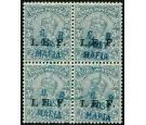SG M33. 1915 3p Grey. Superb fine used block of four...
