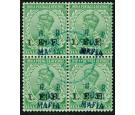 SG M34. 1915 1/2a Light green. A superb fine used block...