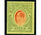 SG47. 1909 5/- Red and green/yellow. Superb fresh mint with...
