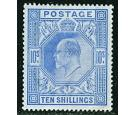 SG265. 1902 10/- Ultramarine. Superb well centred mint...