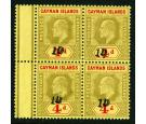 1908 Revenue Stamp. 1d on 4d Black and red/yellow. Brilliant fre