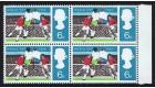 SG694a. 1966 World Cup. 6d Black Omitted. U/M block...
