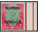 SG O14. 1937 10r Green and scarlet. Brilliant fresh U/M mint...