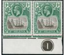 SG98c. 1922 1d Grey and green. 'Cleft Rock'. Superb plate number
