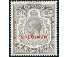 SG359s. 1924 100r Grey-black. 'SPECIMEN'. Superb fresh mint...