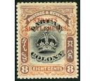 SG147a. 1906 8c Black and vermilion. Line through 'B'. Superb U/