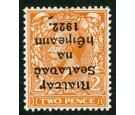 SG12a. 1922 2d Orange (Die i). 'Overprint Inverted'. Superb fres