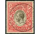 SG85. 1921 5r Black and scarlet. Superb fine well centred used..
