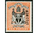 SG41s. 1896 £10 Black and orange. 'SPECIMEN'. Superb fresh mint.