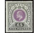 SG144. 1902 £5 Mauve and black. Brilliant fresh mint with beauti