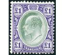 SG272. 1908 £1 Green and violet. Very fine mint...