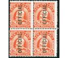 SG O77. 1910 1/- Vermilion. Superb fresh mint block...