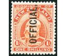 SG O77. 1910 1/- Vermilion. Superb fresh mint...